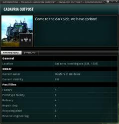 Outpost information with facility listing and custom public description